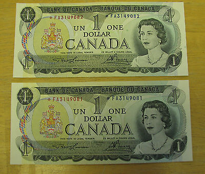 1973 $1 lot of 2 bank note of Canada consc  AU Replacement note *FA BC-46aA