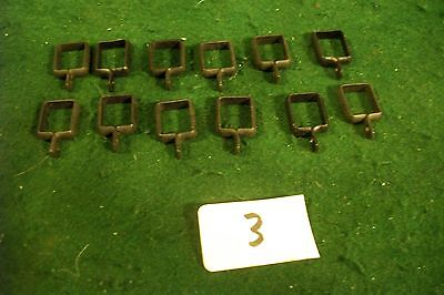 Antique-Old Cast Drapery Rod Clips Lot Black -12 Each -1/2 X 5/8