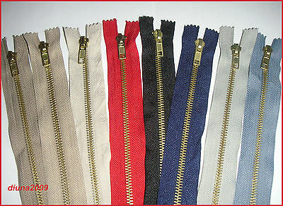 MULTI COLOURS ZIPS /METAL GOLD TEETH CLOSED END ZIP No 5 Different lengths