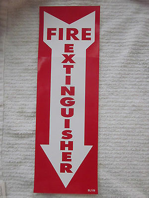 """(1-Sign) 4"""" X 12 Self-Adhesive Vinyl """"fire Extinguisher Arrow"""" Sign...new"""