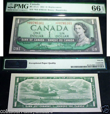 Asterisk Replacement  *H/F  Bank OF Canada 1954  $1 -PMG Certified 66