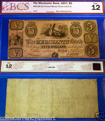1837 $5 The MERCHANTS BANK  - F12 Highest Grade Known For This banknote !