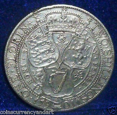GREAT BRITAIN 1901  Florin, Two Shillings Silver Coin
