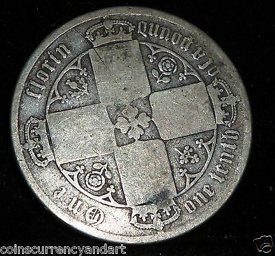 UK (Great Britain) 1872 GOTHIC  Florin - Two Shillings- MDCCCLXXII