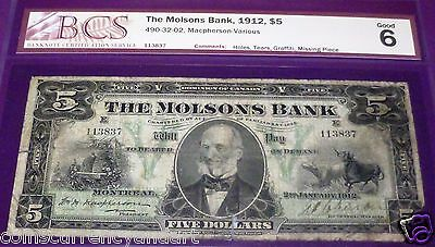 Molsons Bank  -1912 $5  -Scarce- Beautiful Banknote