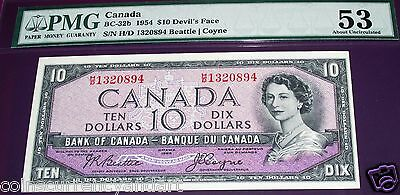 DEVIL FACE 1954 $10   Bank of Canada   PMG Certified 53