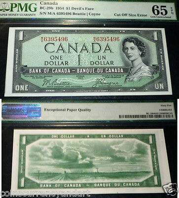 "VERY Scarce ""DEVILS FACE -CUT OFF ERROR  ""1954 Bank  of Canada  $1 PMG  -Unc65"