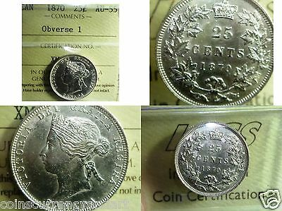 Canada  Quality Silver Quarter  -1870 Canada   ICCS Certified  Twenty-Five Cents