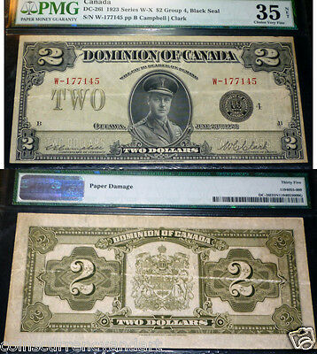 1923 Dominion  of Canada  $2 PMG CERTIFIED -35 Series W-X Group 4
