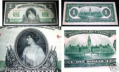 Dominion Of Canada  1917 $1, One Dollar  -Princess Particia -Beautiful Banknote
