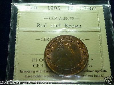 1905 -Canada Large Cent RED -ICCS GRADED - Desirable, HIGH GRADE coin