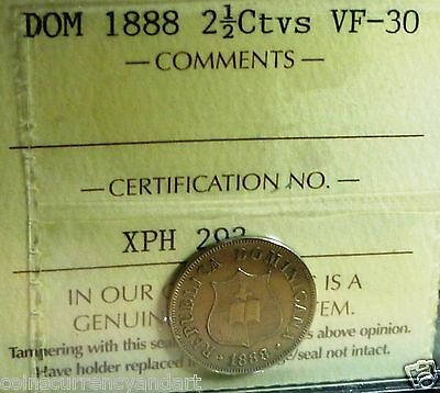 1888 Dominican Republic 2 1/2 Centavos  ICCS Certified