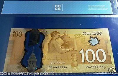 RADAR 4474744  - 2 Digit - 2011  Bank of Canada $100  Certified  Banknote