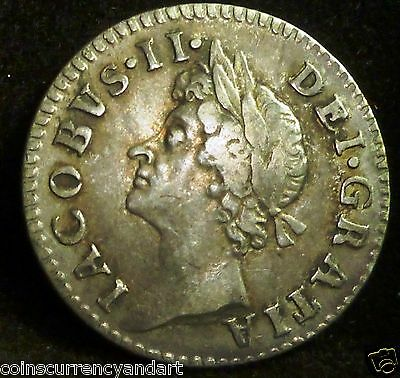 UK -  Great Britain 1687  Fourpence, Groat Silver -King James II