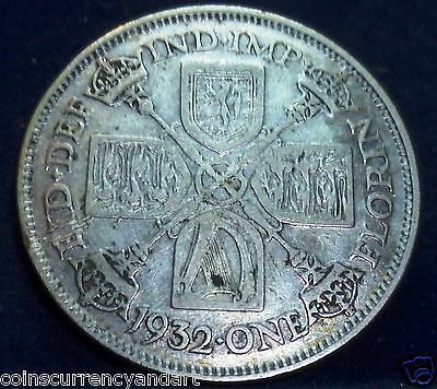 UK - FLORIN 2 SHILLINGS 1932 Silver Coin King George V-SCARCE Great Britain Coin