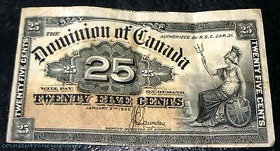 Dominion  of Canada 25 cents (1900)  Cutting error -previous note end