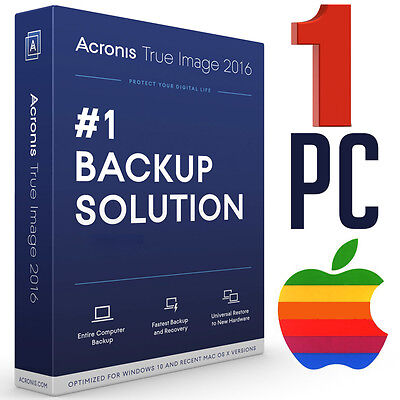 Acronis True Image 2016 for Backup Recovery Your Computer 1 PC Mac Licence