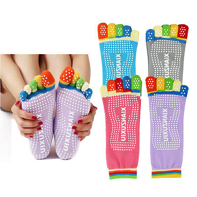 4 Pairs Yoga Fitness Grip Excercise Five Toe Socks Rubber Pilates Non Slip Socks
