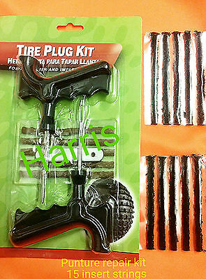 Car Van Motorcycle tubelessTyre puncture Emergency repair tool kit 15 strings