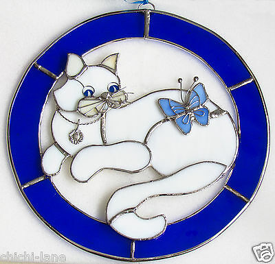Large Cat Lovers Stained Coloured Glass Sun Catcher Window Hanging Picture