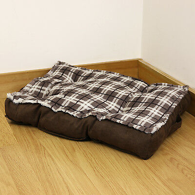 Small Brown Check Super Soft Dog/Cat/Puppy/Kitten Cushion Bed/Mat/Fleece Pad