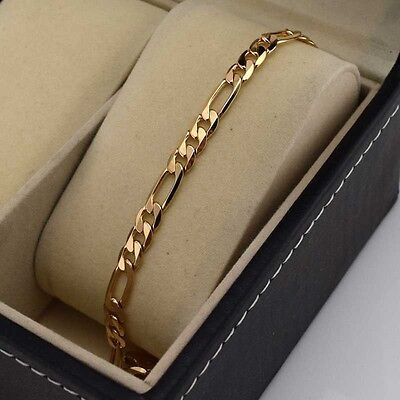 """18k Yellow Gold Filled Charm Bracelet 8.6""""Chain Curb Link GF Fashion Jewelry New"""