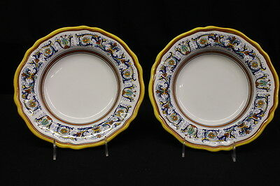 NM 2 Pc Sur La Table DERUTA Scroll Pattern 10  Rim Soup or Pasta Bowls & NM 2 PC Sur La Table DERUTA Scroll Pattern 10