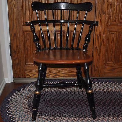 Vintage Ethan Allen Windsor Comb Back Mates Chair Maple and Black Sunflower