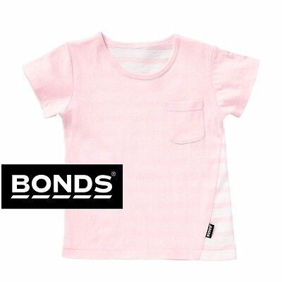 Bonds Baby Jersey Short Sleeve Pocket Tee Tshirt T Shirt Pink White Stripe Girls