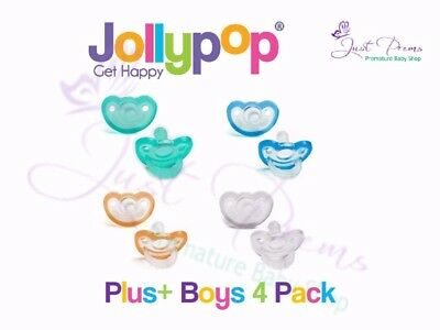 Jollypop ~ the new Gumdrop ~ Dummy  Pacifier Soother Boys 4-pack~ Plus Size