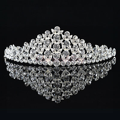Rhinestone Wedding Tiara Bridal Pageant Princess Crown Headpiece Veil Headband