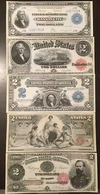 Reproduction Copy Set $2 Dollar Bills $2 1891-1918 United States Currency