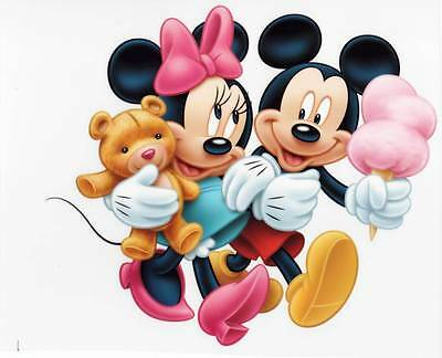 2 X IRON ON Transfer MICKEY AND MINNIE MOUSE Cartoon 18 X 20 cm