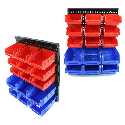 30 Wall Mounted Storage Garage Home Organizer Rack Small Parts Plastic Bins Tool