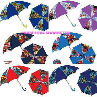 Kids Character Umbrellas Brolly Disney Spiderman Turtles Superman Batman Bnwt