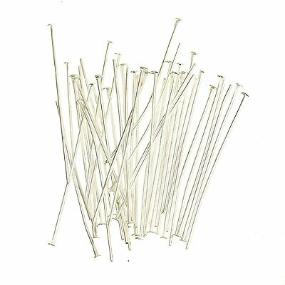 200 Pcs - 40mm Silver Plated Flat Head Pins Jewellery Craft Findings