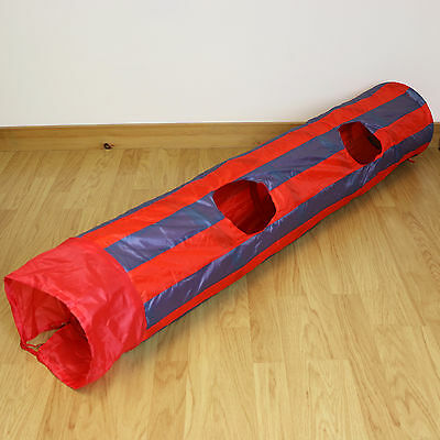 Red & Grey Striped Pop Up Cat/Pet Play Tunnel/Kitten Activity Centre Fun/Toy