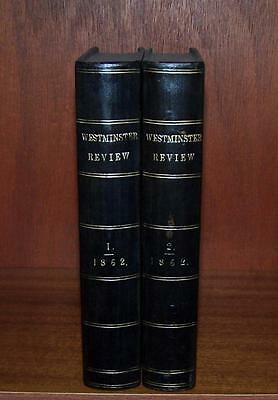 1862 LEATHER BOUND WESTMINSTER REVIEWS 2 x Vols POLYNESIA Gibraltar INDIA Gaul