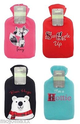 Luxary Winter Warmers Heat Therapy Fleece Applique Hot Water Bottles with Cover