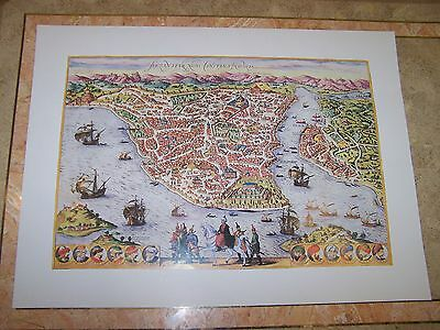 Reproduction of Antique Map of Istanbul c.1572 Birds Eye View Braun & Hogenberg