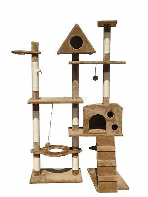 FoxHunter Brown Kitten Cat Tree Scratching Post Sisal Toys Activity Centre 2200