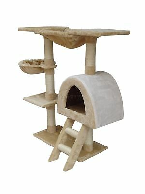 FoxHunter Kitten Cat Tree Scratching Post Sisal Toy Activity Centre Beige CAT001