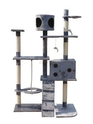 FoxHunter Cat Tree Scratching Post Activity Centre Bed Toys Scratcher 2299 Grey
