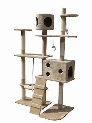 FoxHunter Cat Tree Scratching Post Activity Centre Bed Toys Scratcher 2299 Beige