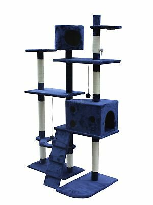 FoxHunter Cat Tree Scratching Post Activity Centre Bed Toys Scratcher 2299 Blue
