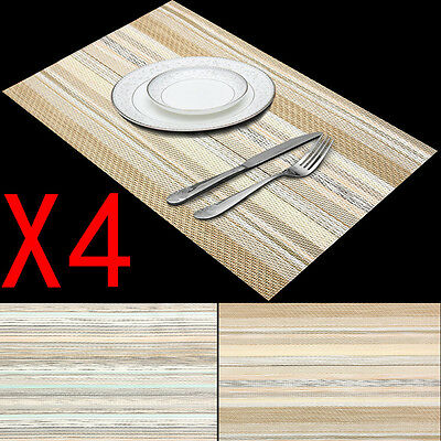 Set of 4 Insulation Placemats Kitchen Dining Table Pad Mat Coasters Rectangle