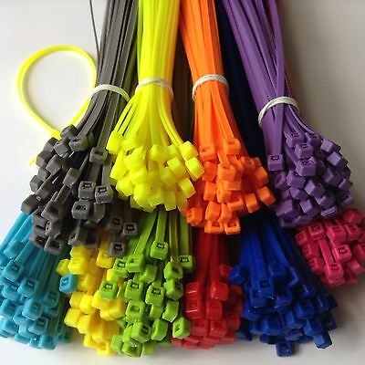 "11"" MULTI COLOR Network Cable Cord ZIP Wire Tie Strap 40Lbs Nylon 50,100,500 pcs"