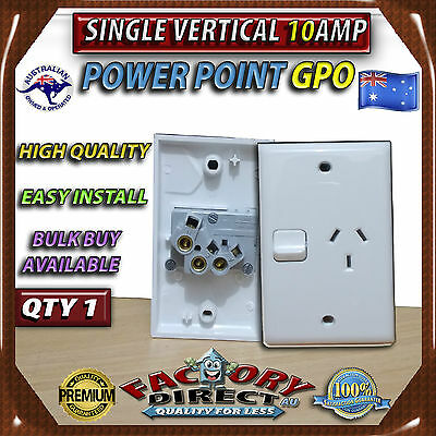 Single 10AMP Power Point GPO Vertical White Electrical Switch Outlet Socket