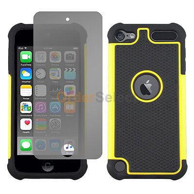 Hybrid Rubber Case+LCD HD Screen Protector for Apple iPod Touch 6 Yellow 50+SOLD