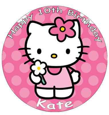 """Hello Kitty Personalised Cake Topper Edible Wafer Paper 7.5"""""""